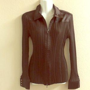 CAbi brown long sleeve zippered top sz XL